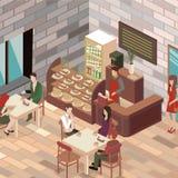 平的3D等量设计内部咖啡馆或餐馆 库存照片