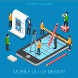 平的3d等量UI/UX设计网infographic概念 免版税库存照片
