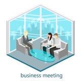 平的3d网等量办公室会议室 库存图片