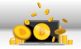 平的bitcoin 金黄硬币堆用计算机采矿设备 库存图片