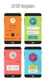 平的Ui或UX流动apps成套工具 库存图片