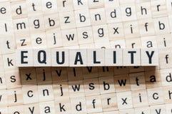 平等在立方体的词概念 免版税库存图片