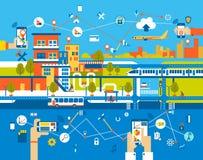 平聪明的城市 用不同的象和元素的都市风景背景 现代的结构 免版税库存照片