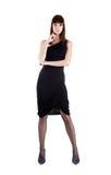平衡全长性感的射击妇女的礼服 免版税图库摄影