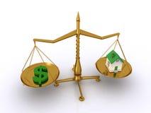 平衡和房价 库存图片