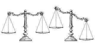平衡和被失衡的标度剪影  向量 向量例证