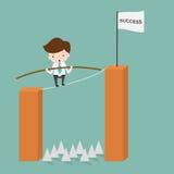 平衡在绳索刺的商人 向量例证