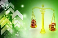 平衡标度的美元和欧洲标志 免版税库存图片
