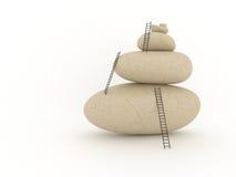 平衡梯子堆石头 免版税库存照片