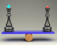 平衡概念国王和女王/王后棋3d 图库摄影