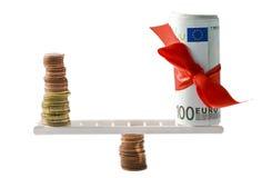 平衡欧元 库存照片