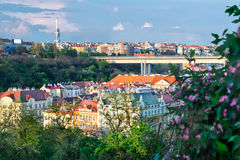 平衡的布拉格的看法从Vyshehrad (捷克)的 库存照片