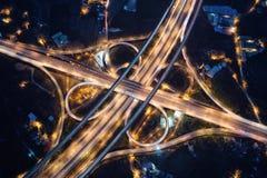 平镇市互换系统航拍在晚上 免版税库存图片