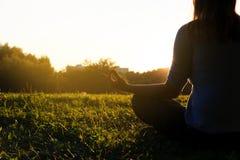 平静和瑜伽在秋天自然实践在日落 库存照片