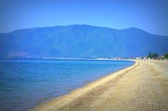 平静海滩视图, Asprovalta希腊 免版税库存图片