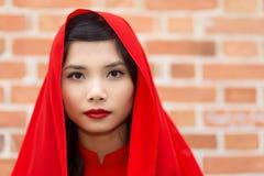 平静的典雅的年轻越南妇女 库存照片