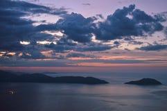 平静的日落视图在岘港,越南 库存照片