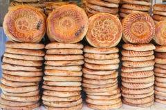 平面亚洲面包的蛋糕 免版税库存图片