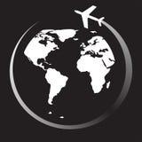 平面旅行圆的世界,传染媒介例证 图库摄影