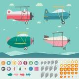 平面比赛财产(四飞机、背景、象、烟和火) 库存图片