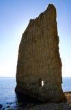 平面的偏僻的岩石 免版税图库摄影