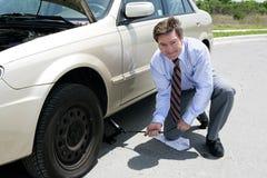 平面的插孔轮胎 免版税库存照片