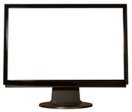 平面的查出的显示器屏幕电视 免版税库存图片