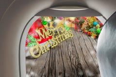 平面窗口和圣诞节装饰品的图象 库存照片