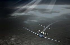 平面离开在海的天空 库存照片