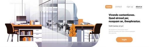 平Coworking办公室内部现代中心创造性的工作场所环境水平的横幅拷贝空间空的工作区 库存例证
