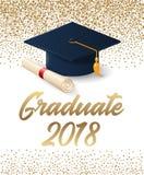 2018年与帽子和文凭纸卷的毕业海报类  向量例证