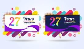 27年与现代方形的设计元素的周年,五颜六色的编辑,庆祝模板设计,流行音乐庆祝模板 向量例证