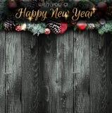 2018年与雪和rea的新年快乐和圣诞快乐框架 库存图片