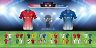 2018年世界冠军橄榄球杯子小组集合,足球球衣大模型和记分牌比赛对战略播放了图表模板 免版税库存图片