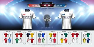 2018年世界冠军橄榄球杯子小组集合,足球球衣大模型和记分牌比赛对战略播放了图表模板 免版税库存照片