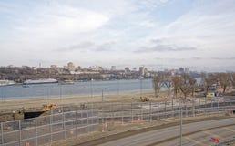2018年世界足联的一个新的海滩的建筑和体育场 免版税库存照片