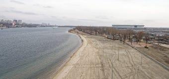 2018年世界足联的一个新的海滩的建筑和体育场 库存图片