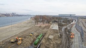 2018年世界足联的一个新的海滩的建筑和体育场 图库摄影