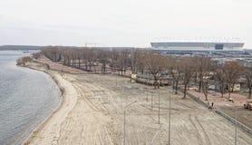 2018年世界足联的一个新的海滩的建筑和体育场 免版税库存图片