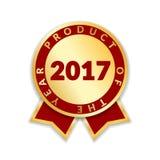 年丝带奖最佳的产品2017年 金丝带奖象被隔绝的白色背景 最佳的产品金黄标签为 免版税库存照片