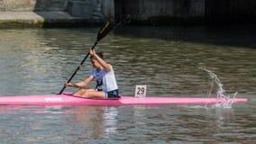 2017年中国上海靖安绍兴乘独木舟的马拉松世界杯 免版税库存照片