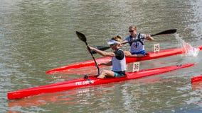 2017年中国上海靖安绍兴乘独木舟的马拉松世界杯 库存照片