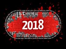 2018年健康和体育目标词云彩 库存图片