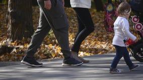 18 10 2017年切尔诺夫策,乌克兰:在秋天公园照顾走与一辆婴孩摇篮车 爱和家庭观念 影视素材