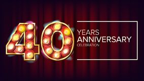 40年周年横幅传染媒介 四十,第四十次庆祝 葡萄酒样式被阐明的轻的数字 为 库存例证