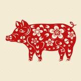 2019年土制猪的黄道带年 新年的中国猪带给繁荣和好运 风格化以图例解释者 向量例证