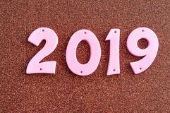 2019年在桃红色数字 免版税库存图片