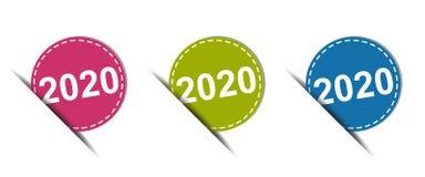 2020年在白色-五颜六色的传染媒介象-隔绝的网按钮 免版税库存图片