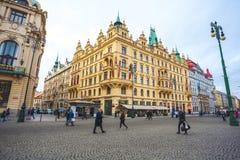 25 01 2018年布拉格,捷克-对街道的看法在老 免版税库存照片