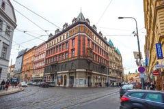 25 01 2018年布拉格,捷克-对街道的看法在老 免版税图库摄影